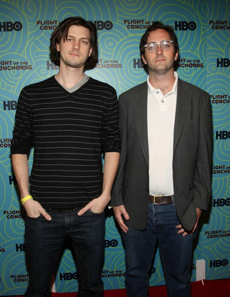 Trevor Moore and Sam Brown at the Flight of the Conchords' season 2 viewing party.