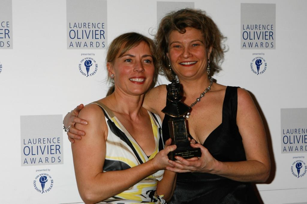 Saskia Reeves and Judith Dimant at the Laurence Olivier Awards.