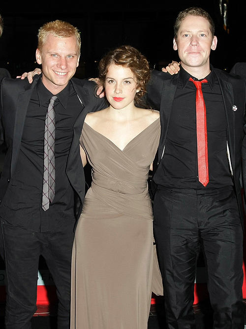 Robert Stadlober, Paula Kalenberg and director Marco Kreuzpaintner at the Berlin premiere of