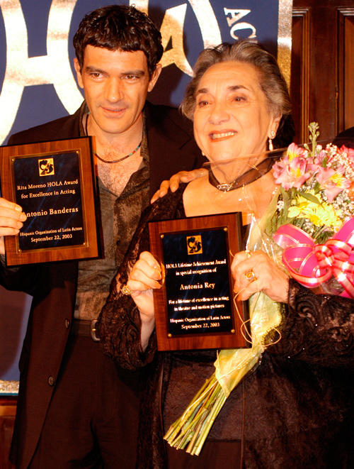 Antonio Banderas and Antonia Rey at the 4th annual Hispanic Organization of Latin Actors Awards.