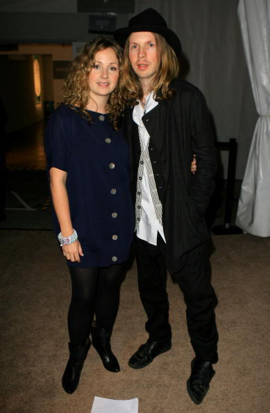 Musician Beck and Marissa Ribisi at the Whitley Kros Spring 2008 fashion show during the Mercedes Benz Fashion Week.