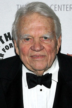 Andy Rooney attends a gala honoring Sumner Redstone presented by The Paley Center For Media at the Waldorf-Astoria Hotel on February 07, 2008 in New York City.