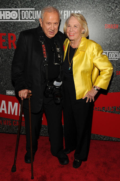 Photographer Ron Galella and Liz Smith at the New York premiere of