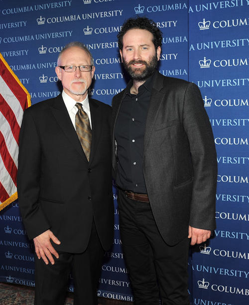 Robert Schenkkan and Dan O'Brien at the 2013 Edward M. Kennedy Prize for Drama Award Reception in New York.