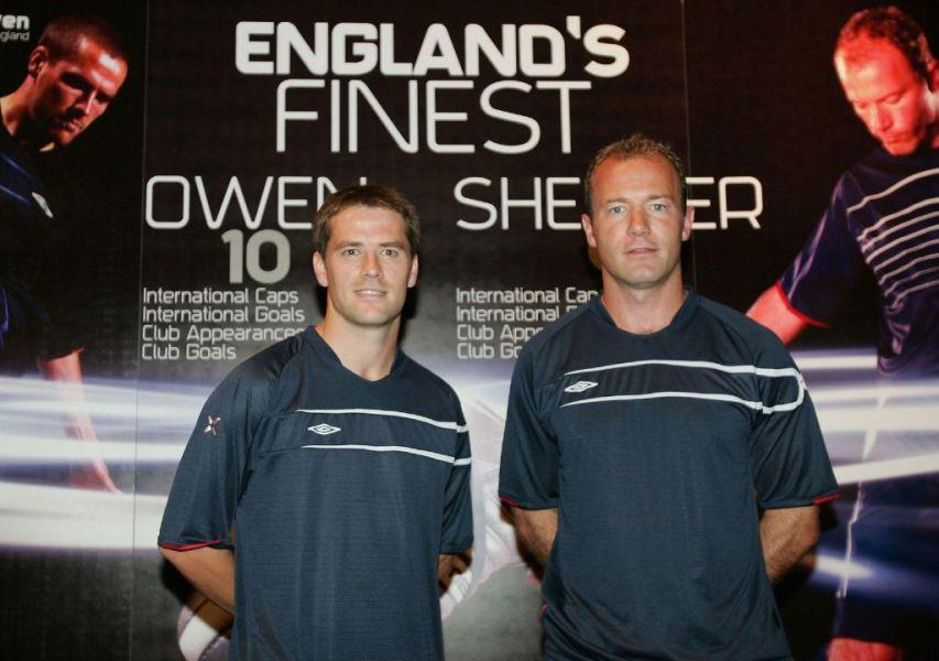 Michael Owen and Alan Shearer at the press conference held by Umbro.