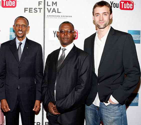 Rwandan President Paul Kagame, Jean Pierre Sagahutu and Reid Carolin at the premiere of