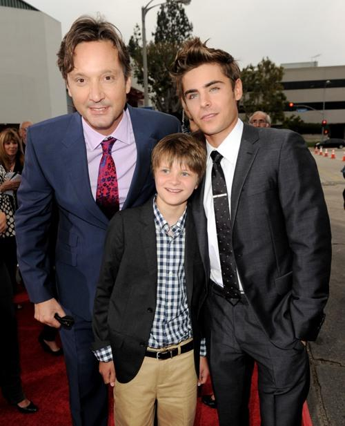 Burr Steers, Charlie Tahan and Zac Efron at the premiere of