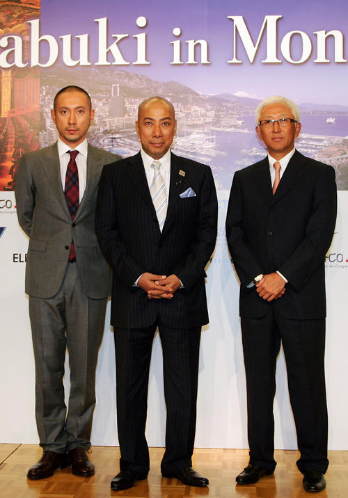 Ebizo Ichikawa, Danjuro Ichikawa and Tokizo Nakamura at the press conference of