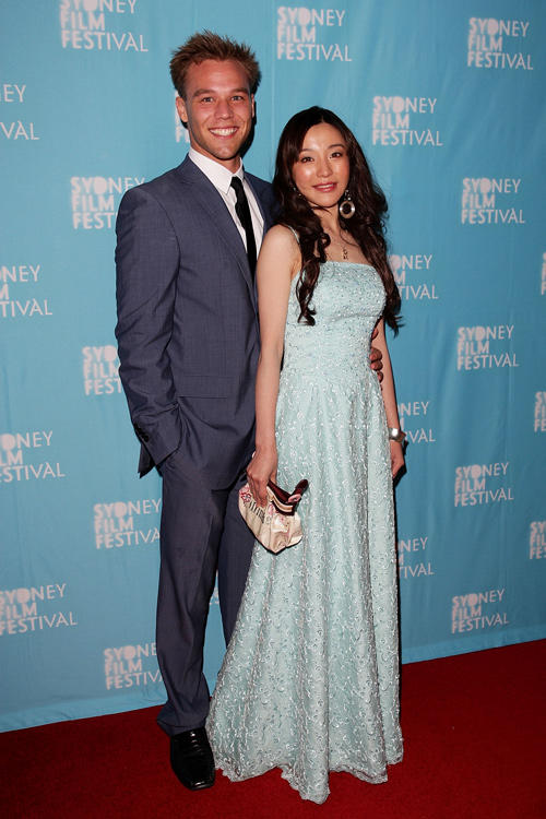 Lincoln Lewis and Zhu Lin at the premiere of