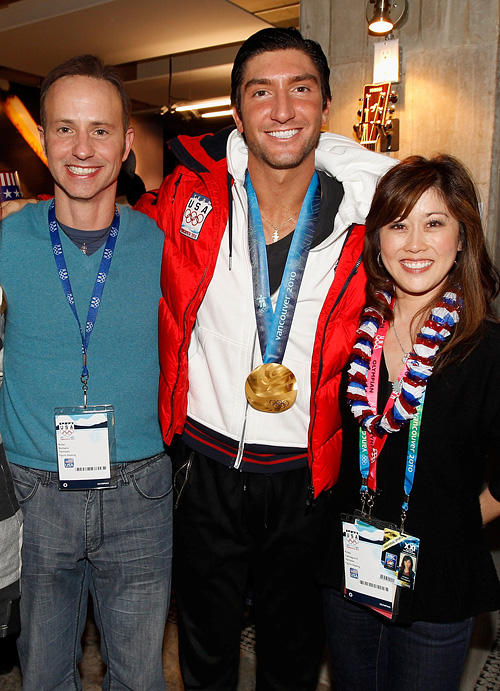 Brian Boitano, Skater Evan Lysacek and Kristi Yamaguchi at the USA House during the US Olympians.