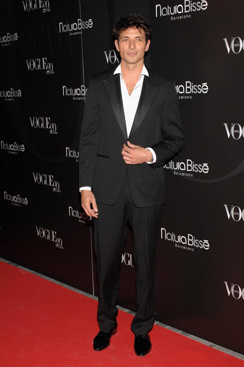 Andres Velencoso at the Vogue Magazine 20th anniversary party in Spain.