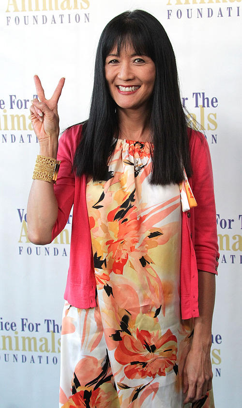 Suzanne Whang at the Voice for Animals Foundation's annual benefit with a