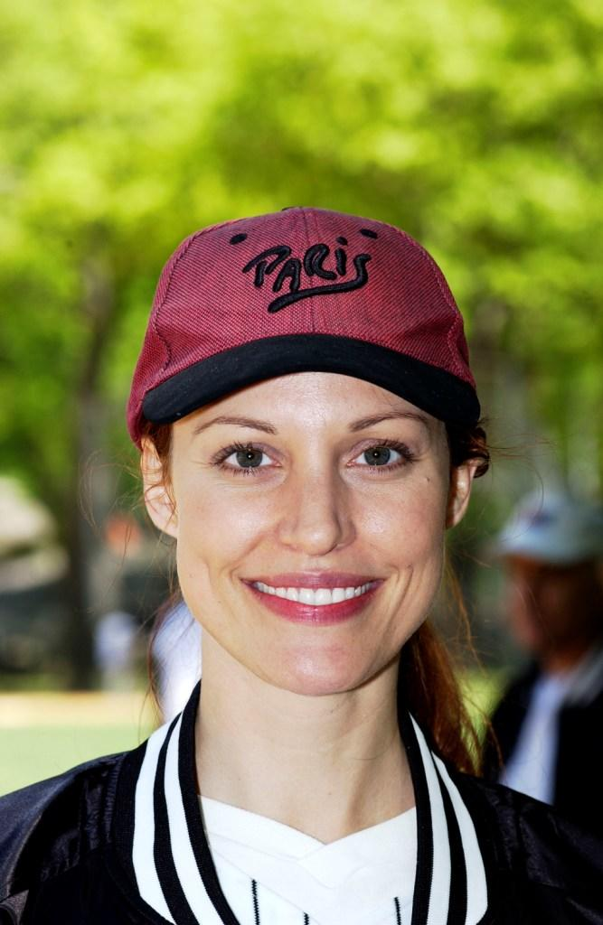Rachel York at the opening day of the Broadway Softball League.