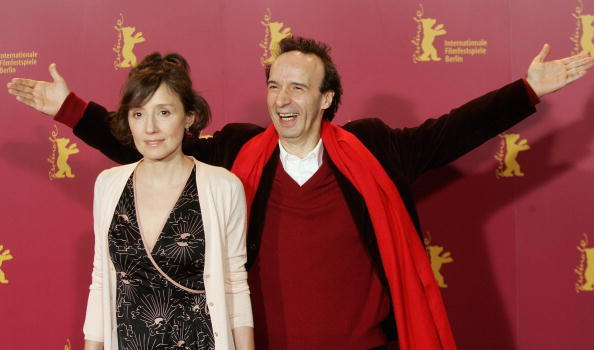 Nicoletta Braschi and Roberto Benigni at the photocall of