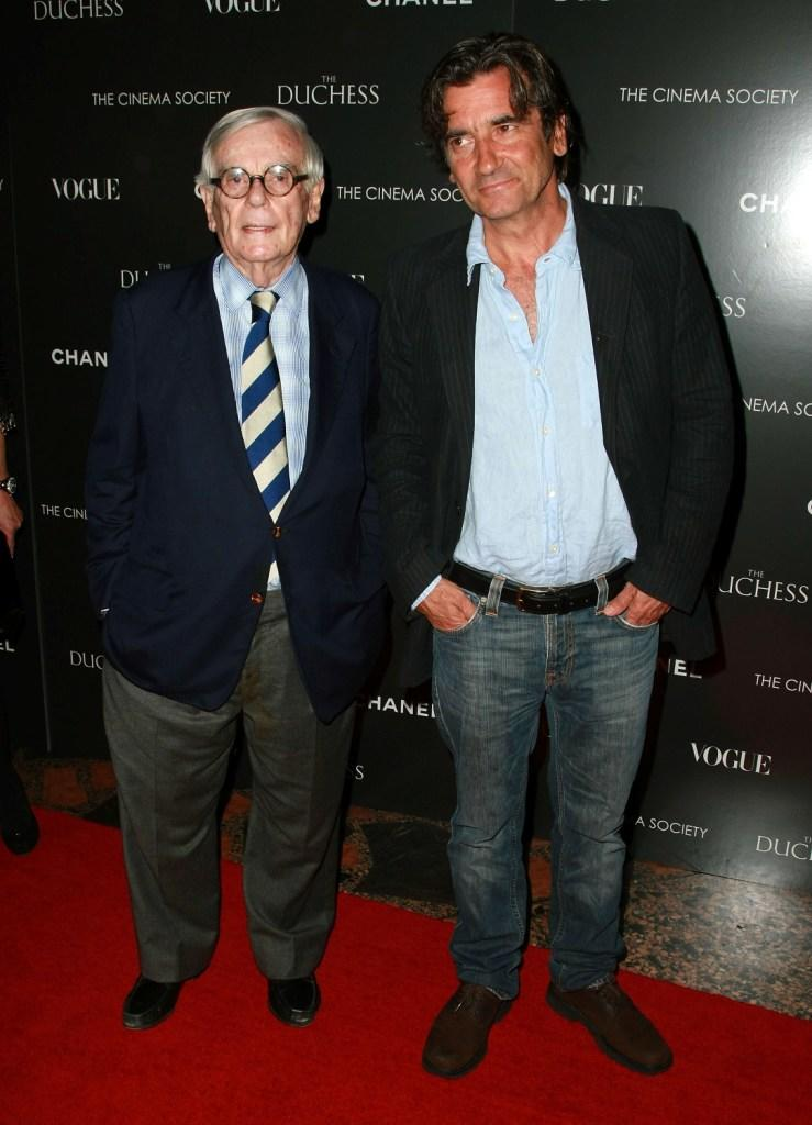 Dominick Dunne and Griffin Dunne at the premiere of
