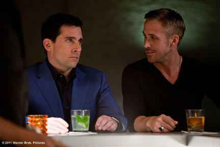 Steve Carell as Cal Weaver and Ryan Gosling as Jacob Palmer in ``Crazy Stupid Love.''