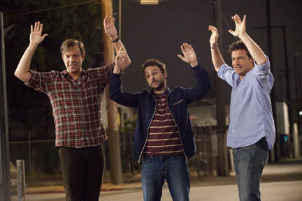 Jason Sudeikis as Kurt Buckman, Charlie Day as Dale Arbus and Jason Bateman as Nick Hendricks in ``Horrible Bosses.''