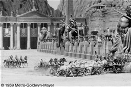 Shown here is the chariot race in the film