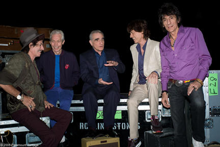 Keith Richards, Charlie Watts, director Martin Scorsese, Mick Jagger and Ron Wood in