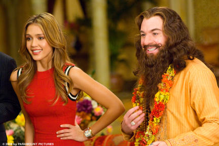 Jessica Alba (left) and Mike Myers (right) in