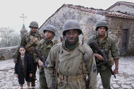 Matteo Sciabordi as Angelo, Omar Benson Miller (behind Matteo) as Sam, Michael Ealy as Bishop, Derek Luke (forefront) as Aubrey, Laz Alonso as Hector in