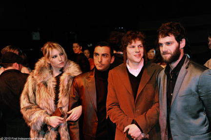 Ari Graynor as Rachel, Danny A. Abeckaser as Jackie, Jesse Eisenberg as Sam and Justin Bartha as Yosef in