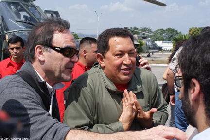 Director Oliver Stone and Venezuelan President Hugo Chavez in