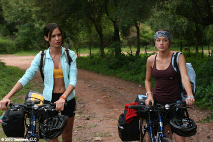 Odette Yustman as Ellie and Amber Heard as Stephanie in `` And Soon the Darkness.''