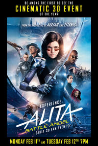 Experience: Alita Battle Angel Early 3D Fan Event Movie Poster