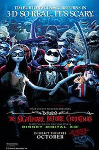 Tim Burton's The Nightmare Before Christmas in Disney Digital 3D Movie Poster