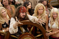 A bevy of beauties surround pirate captain Jack Swallows (Darrell Hammond)  in