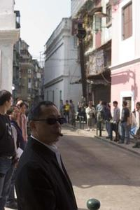 Director Johnnie To on the set of