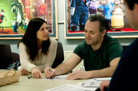 Producer Michelle Murdocca and director Genndy Tartakovsky on the set of