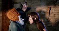 Johnnystein voiced by Andy Samberg, Dracula voiced by Adam Sandler and Mavis voiced by Selena Gomez in