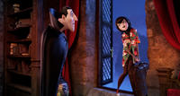 Dracula voiced by Adam Sandler and Mavis voiced by Selena Gomez in