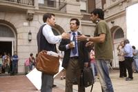 Director M. Night Shyamalan, Mark Wahlberg and John Leguizamo on the set of