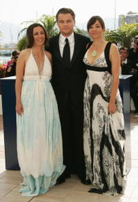 Co-director Leila Conners Petersen, actor/writer Leonardo DiCaprio and co-director Nadia Conners at a Cannes photocall for