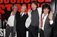 Musicians Keith Richards, Charlie Watts, Mick Jagger and Ronnie Wood of the Rolling Stones at the N.Y. premiere of
