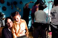 Director Patricia Riggen and Adrian Alonso on the sets of