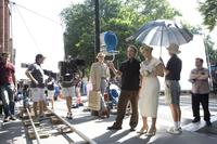 Director Sam Mendes and Kate Winslet on the set of
