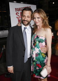 Producer Judd Apatow and actress Leslie Mann at the Hollywood premiere of