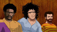 Animated shots of the defendants of the 1968 Conspiracy Trial Bobby Seale, Abbie Hoffman and Jerry Rubin in
