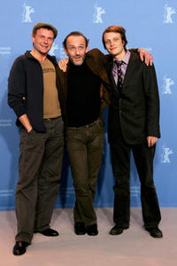 Actors Devid Striesow, Karl Markovics and August Diehl at a photocall for