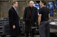 Director Christopher Nolan, Michael Caine and Christian Bale on the set of