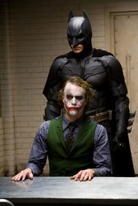 Heath Ledger as Joker and Christian Bale as Batman in