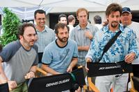 Robert Smigel, Judd Apatow and Adam Sandler on the set of