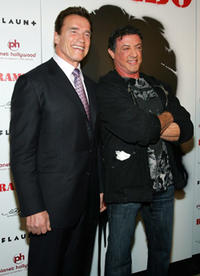 California Gov. Arnold Schwarzenegger and actor/director Sylvester Stallone at the Las Vegas premiere of