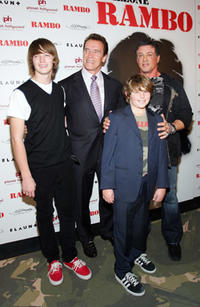 California Gov. Arnold Schwarzenegger with sons Christopher Schwarzenegger and Patrick Schwarzenegger, pose with actor/director Sylvester Stallone at the Las Vegas premiere of