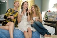 Cynthia Nixon as Miranda Hobbes, Kristin Davis as Charlotte York-Goldenblatt and Sarah Jessica Parker as Carrie Bradshaw in