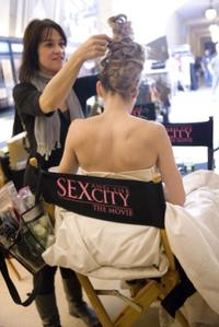 Hairstylist Mandy Lyons and Sarah Jessica Parker on the set of